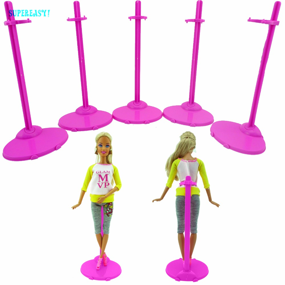 5pcs/lot Pink Stands Figure Display Plastic Holder Model Prop Up Accessories For Barbie FR 1:6 Doll Stand Supporting Kid Gift