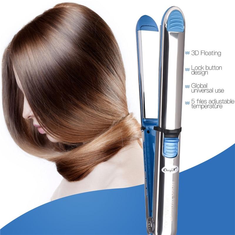 Dual use Hair straightener curler LED digital titanium plate