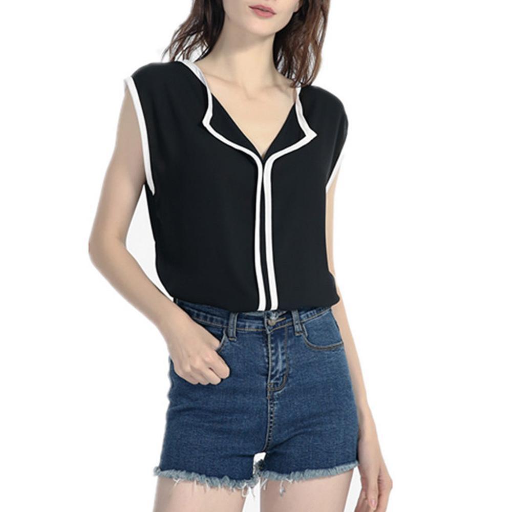 Summer Women Chiffon Shirt Loose V Neck Sleeveless Office Lady Commuter Blouses 2019 Fashion Fresh Sweet Tops