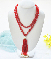 wholesale 40 8mm red /yellow Natural Stone jades bead white round pearl necklace Pendants