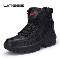 LINGGE Men's Boots Military boot Tactical Big Size Army Boot Male Shoes Safety Combat Mens Ankle Booties Motorcycle Boots