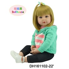 22″ Reborn Bonecas Baby Girl Dolls with Brown Hair for Chirldren with Brown Eyes Brown Hair of Holiday Birthday Gifts for Girls