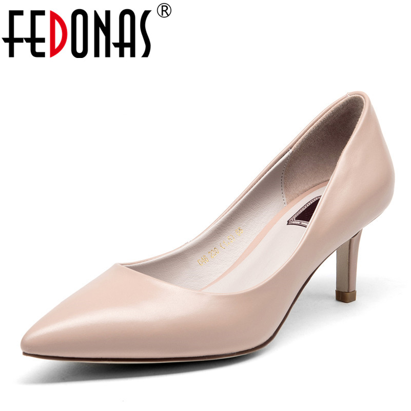 FEDONAS Women Pumps Fashion Pointed Toe Genuine Leather Stiletto High Heels Shoes Spring Summer Wedding Shoes Woman Party Pumps wholesale lttl new spring summer high heels shoes stiletto heel flock pointed toe sandals fashion ankle straps women party shoes
