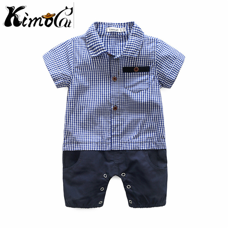 Kimocat Summer baby boy Gentleman stripe check two pieces of pure cotton short sleeve jumpsuit, climbing clothes