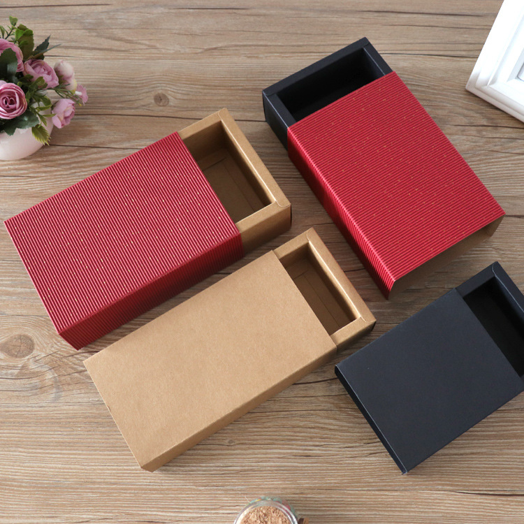 20pcs/lot- Blank Kraft Paper Drawer Boxes Black Paperboard Packaging Box DIY Handmade Soap Craft Jewel Party Gift Boxes