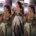 2016 V profundo cuello Sexy vestido de noche largo en piedras con cuentas de lentejuelas de plata vestidos fiesta baratos formales Lungo Abito Da Sera