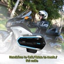 รถจักรยานยนต์อินเตอร์คอมสำหรับรถจักรยานยนต์หมวกนิรภัย Intercom Moto Bluetooth Intercom Interphone หูฟังวิทยุ FM