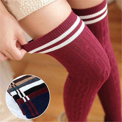 Women Knit Cotton Over The Knee  Knit Socks Long Striped Thigh High Socks New