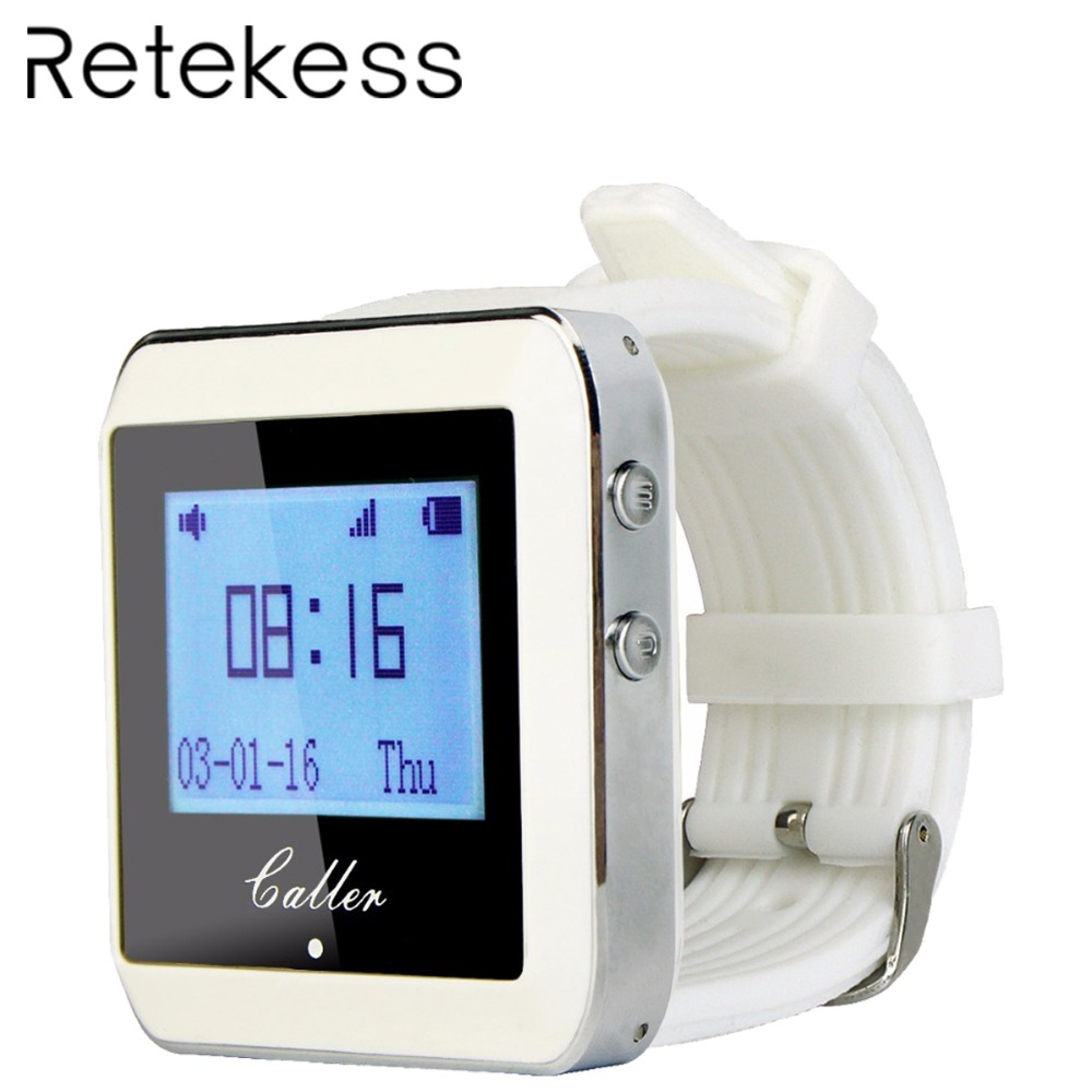 RETEKESS Calling Paging System 433MHz 999 Channel RF Wireless White Wrist Watch Receiver For Fast Food