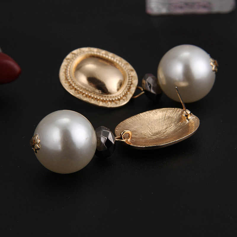 RscvonM ZA Vintage Simulated Pearl Statement Earrings Women Wedding Party Dangle Drop Earrings Maxi Jewelry Love Christmas Gift