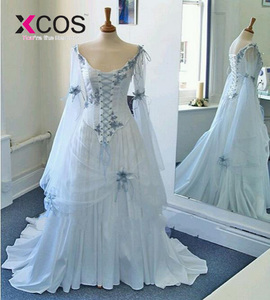 Image 2 - Vintage Celtic Wedding Dresses White and Pale Blue Colorful Medieval Bridal Gowns Scoop Corset Long Flare Sleeve Flowers