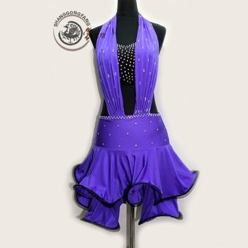 New Latin dance costumes senior sexy purple sequins latin dance dresses for women latin dance competition dresses S-4XL
