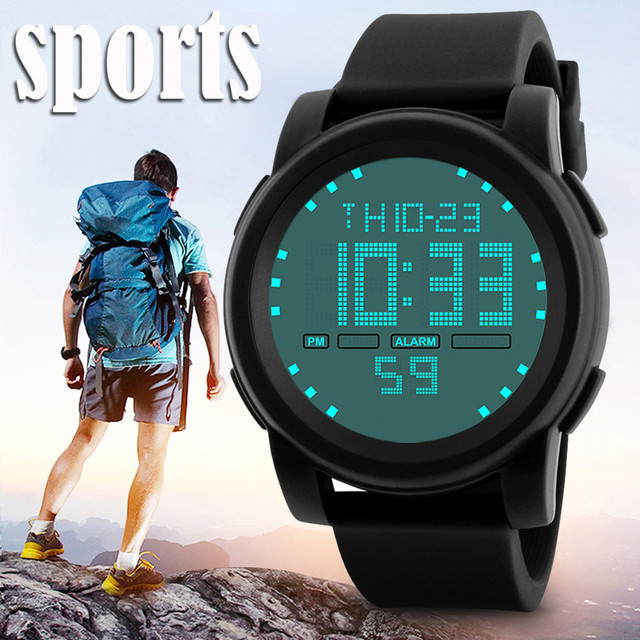 New 2018 Mens Digital Watch LED Waterproof Alarm Stopwatch Men Women Outdoor Running Sports Watches Relogio 1