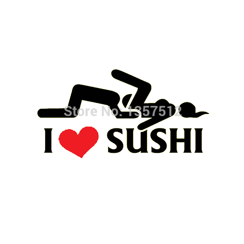 Hot Sale I Love Sushi Sticker Car Window Truck Door Bumper Decal Vinyl Funny JDM Drift Rally 8 Colors horse riding sticker for car rear windshield truck suv bumper auto door laptop kayak canoe art wall die cut vinyl decal 8 colors