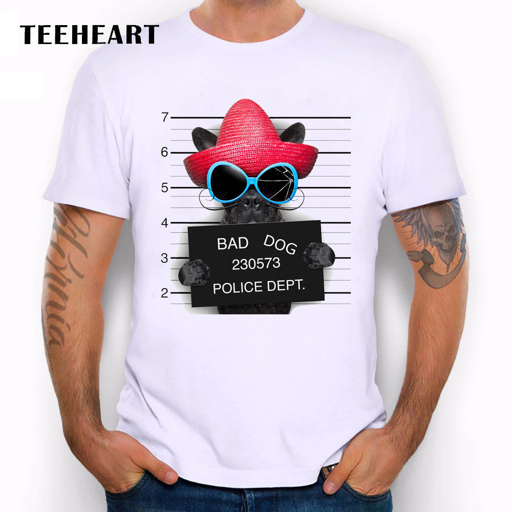 Wanted Bad Dogs Mugshot French Bulldog Straw Hat Funny Joke Men T Shirt Tee
