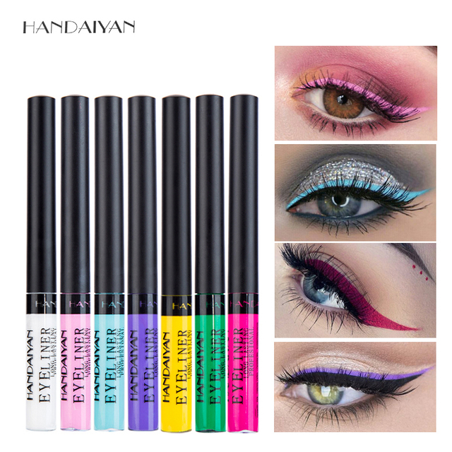 Delineador de ojos líquido mate HANDAIYAN maquillaje impermeable delineador de ojos blanco azul púrpura para cosméticos de fiesta