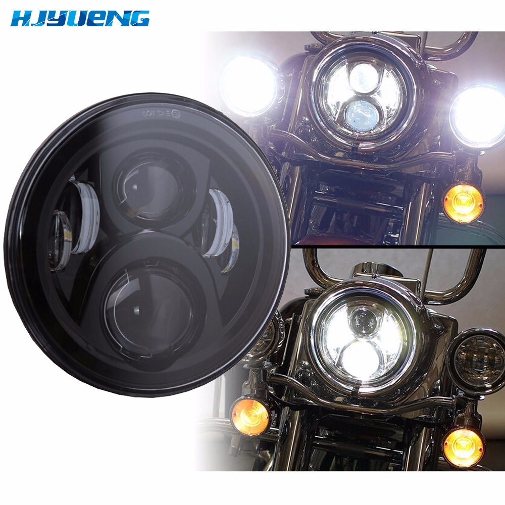 HJYUENG 60w DOT Approved 7LED Harley Motorcycle Headlight 7Inch Daymaker LED Projector Headlights Motorcyle Parts Lighting
