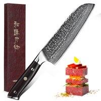 HEZHEN 7'' Santoku Knife 67 Layers Damascus Steel Cooking Tools Cleaver Slicing Japan Santoku Ergonomic Equipment Kitchen Knives