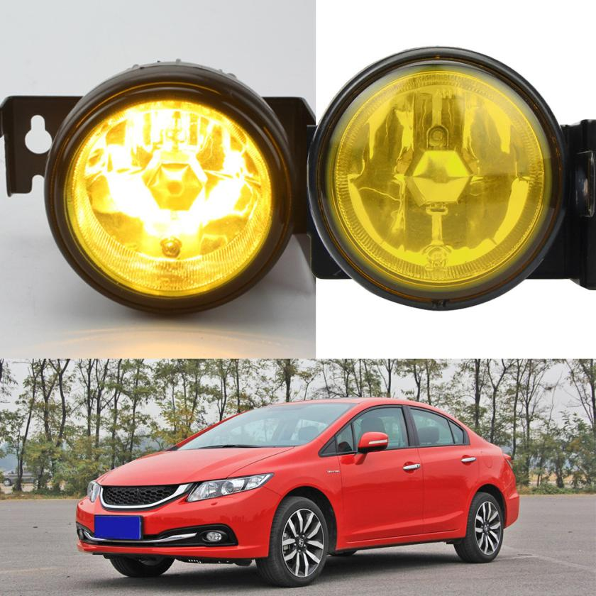ФОТО New Arrival  For 1999-2000 Honda Civic SI Type R JDM Yellow Fog Lights Front Bumper Lamp FULL KIT st22