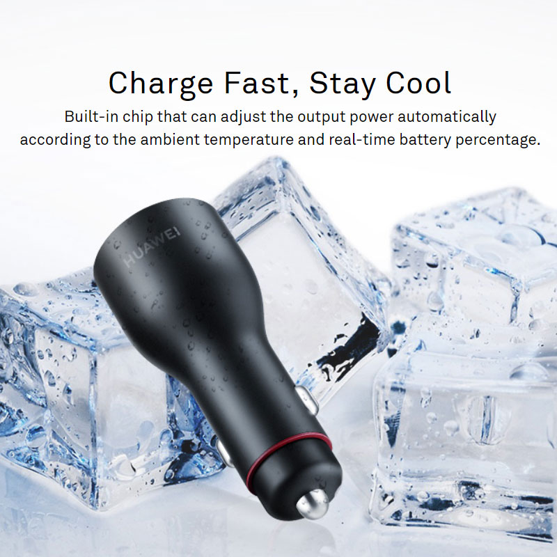 Original HUAWEI CP37 Supercharge Car Charger 2 40W Max 10V 4A Dual USB 5A Type C Cable Included