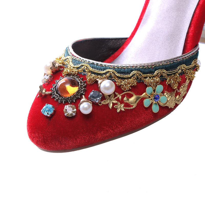 df9cab04e705 Bird Cage Heels Rhinestones Beading Buckle Women Summer Pumps Lady Corduroy  High Heel Top Grade Plus Size Sandals 34 43 201705-in Women s Pumps from  Shoes ...