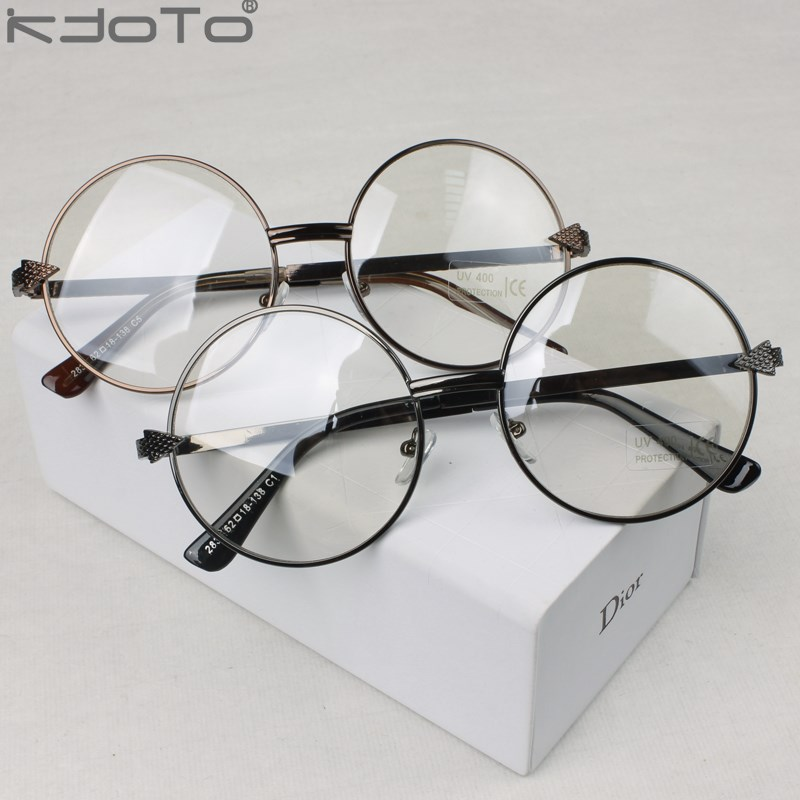 754e5da9a07 Vintage metal round glasses arrow gold circle big frame glasses belt plain  glass lens myopia male eyeglasses frame