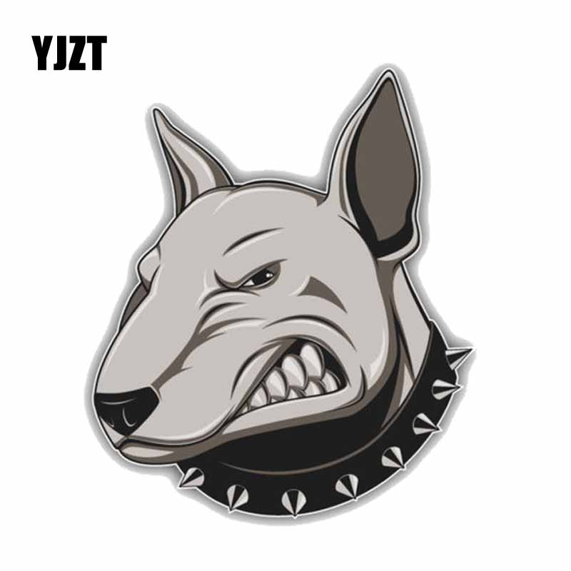 YJZT 12.7*15CM Angry Bullterrier Dog Car Decoration PVC Car Sticker Decals C1-4205 ...