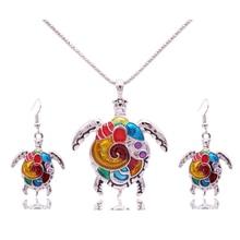 Sistemas de La Joyería Para Las Mujeres Chapado En Oro esmalte de La Tortuga Tortuga Animal Del Pendiente Del Collar de La Vendimia Étnica Joyería Mar