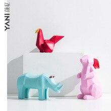 MRZOOT Nordic home color soft decoration rabbit bunny thousand paper crane animal statue sculpture accessories