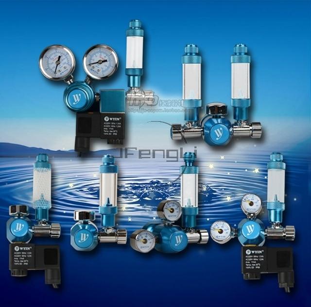 JFENGLI acuario WYIN CO2 regulador con válvula de contador de burbujas magnético de la válvula de solenoide