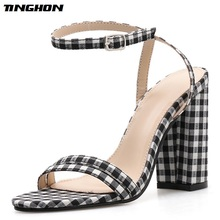 TINGHON Classic Canvas Square High Heel Sandals Women Summer Buckle Strap Black Open Toe Ankle Lattice Party Shallow Shoes