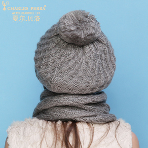 Image 5 - Charles Perra Women Hat Scarf Sets Autumn Winter New Knitted Hats Fashion Elegant Casual Warm Beret Style Female Beanies 2321