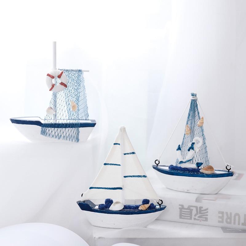 Resina estilo Mediterrâneo de madeira Barco a Vela Navio Molde com Starfish  Shell Handmade Artesanato Casa efd6ca8ad6