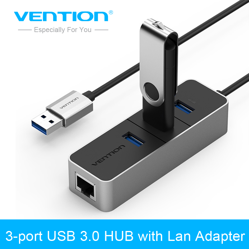 Vention 3 Port USB 3.0 HUB 10/100 Mbps USB To RJ45 Ethernet Adapter Wired Network Card LAN Adapter For Windows Mac OS Tablet vention usb 3 0 m ethernet rj45 f otg сетевой адаптер