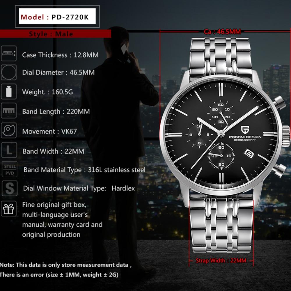 PAGANI Design Luxury Top Brand Simple Chronograph Stainless Steel Men's Watch Military Quartz Wrist Watches Dress Clock Male