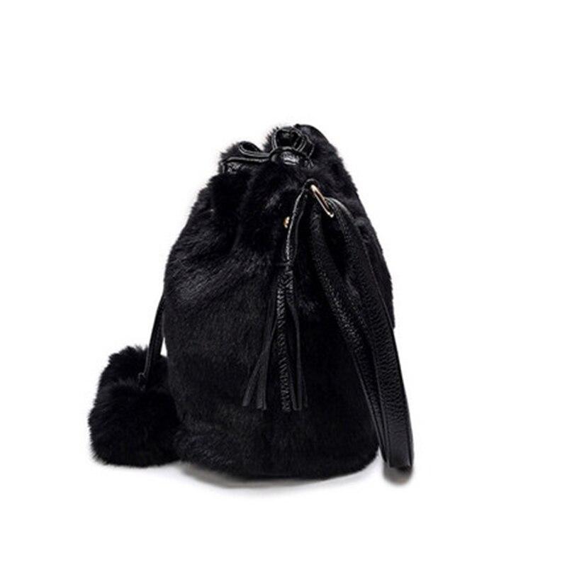 bolsa mulheres leopardo fluff borla Tassel Bag : Bucket Bags Women Lady