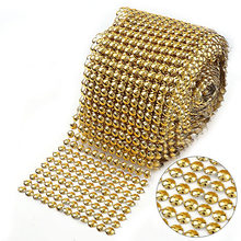 1Yard 12 Rows 9mm Half Round Gold Rhinestone Mesh Trim ABS Plastic Punk  Style Trimming Sew On For DIY Craft Jewelry Decoration bed912476164