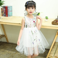 Girl Embroidery Princess Sleeveless Dress Party Wear Formal Dress Summer Wedding Birthday Clothes Teen Girl Prom