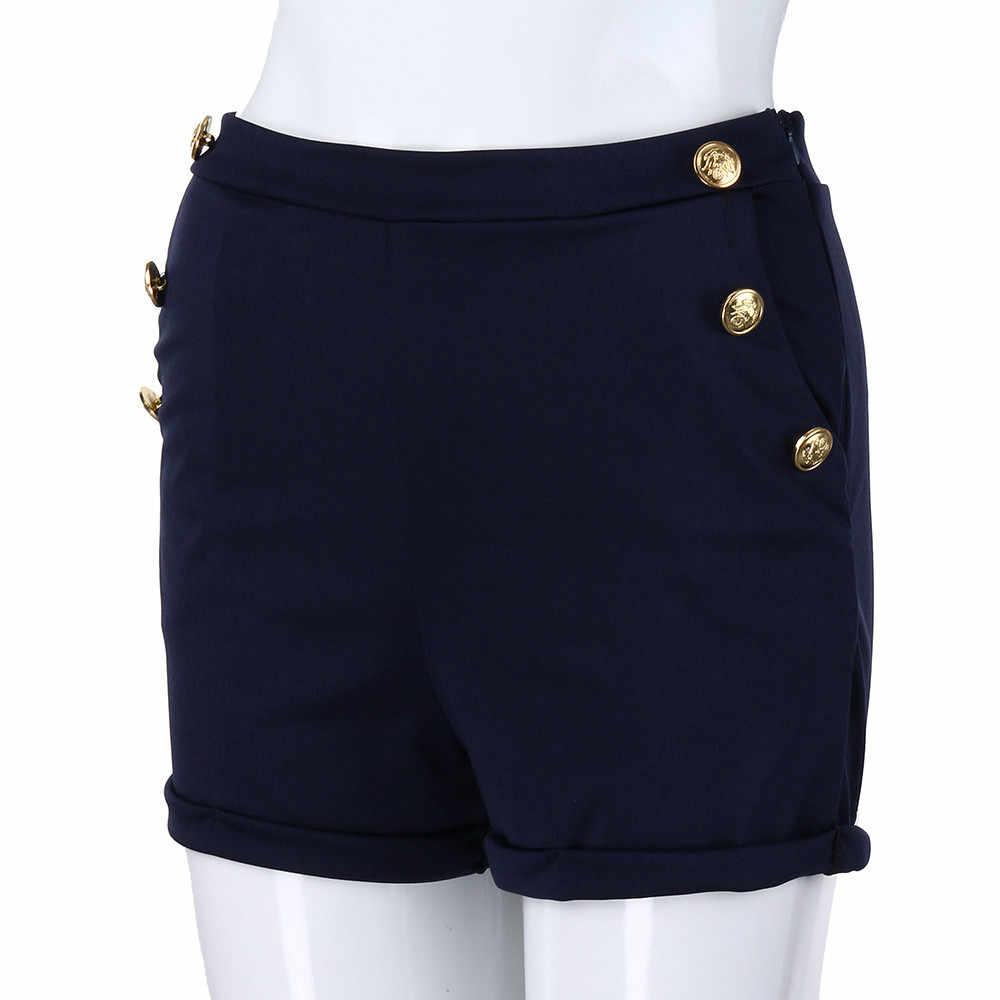 Plus rozmiar S-5XL szorty na lato moda damska poliester Casual solidny chudy zamek latać wysokiej talii gorące spodenki feminino #1