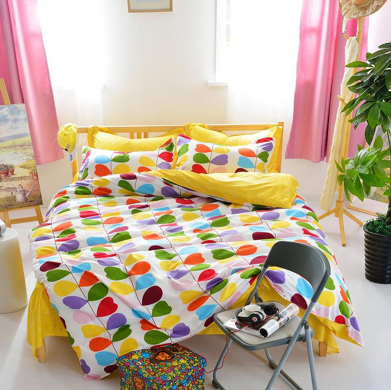 new arrival quality polyester fashion style yellow queen twin full bedding bed sheet set bedclothes duvet cover set bedding set