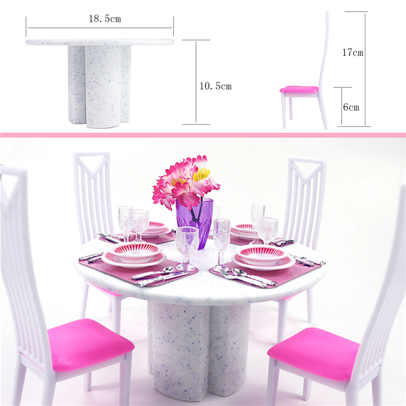 US $6.17 11% OFF|For Barbie Furniture Dining Room Miniature White Porcelain  Dining Table Play Set with 4 set Tablewares Chairs for 1/6 Doll-in Dolls ...