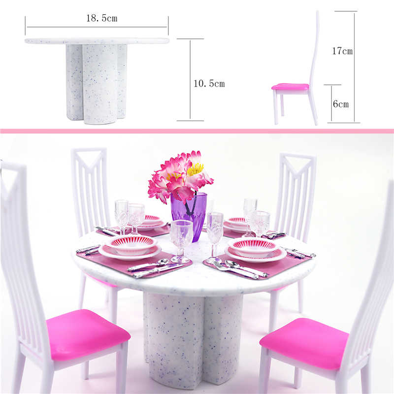 For Barbie Furniture Dining Room Miniature White Porcelain Table Play Set With 4 Tablewares Chairs 1 6 Doll