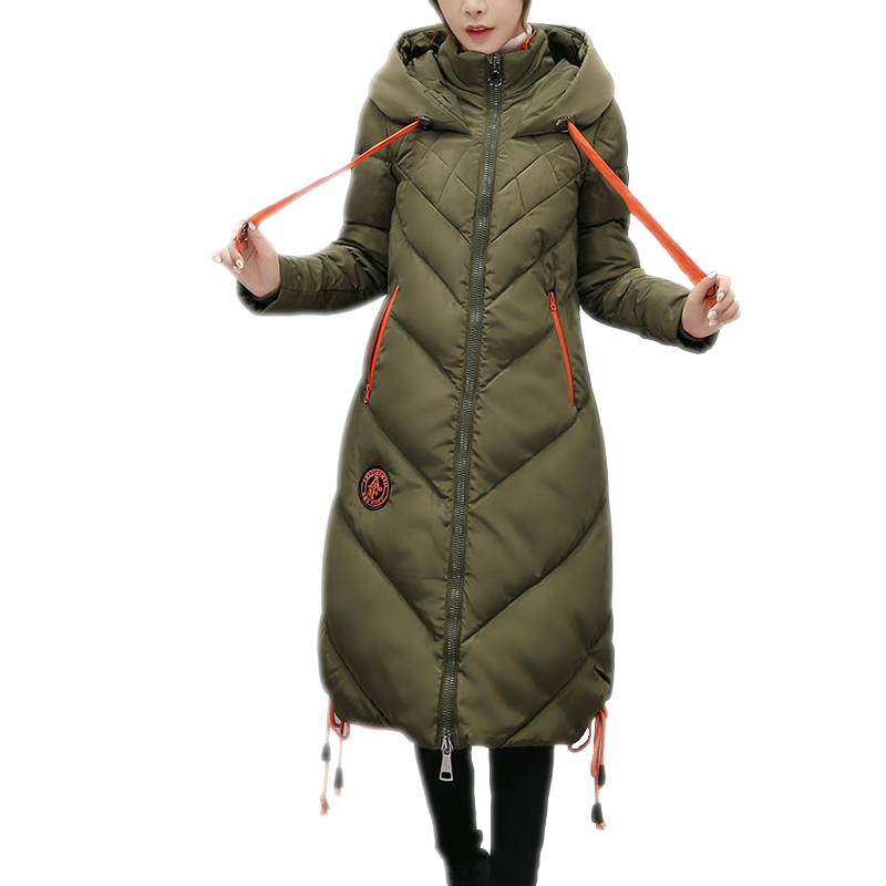 winter jacket women Army green long parka manteau femme hiver Stand collar Cotton Padded thick warm female coat Hooded Outerwear bishe women winter down jacket warm long parka femme 2017 faux fur collar hooded cotton padded parkas female manteau femme 4xl