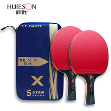 Huieson 2Pcs Upgraded 5 Star Carbon Tafeltennis Racket Set Lichtgewicht Krachtige Ping Pong Paddle Bat Racket Met Goede controle(China)