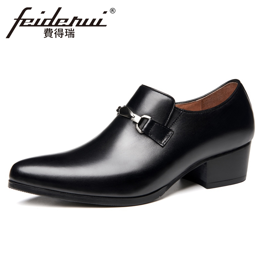 Basic Genuine Leather Formal Dress Mens Loafers Pointed Toe Metal Tipped Handmade 5cm High Heels Man Wedding Party Shoes HQS390Basic Genuine Leather Formal Dress Mens Loafers Pointed Toe Metal Tipped Handmade 5cm High Heels Man Wedding Party Shoes HQS390
