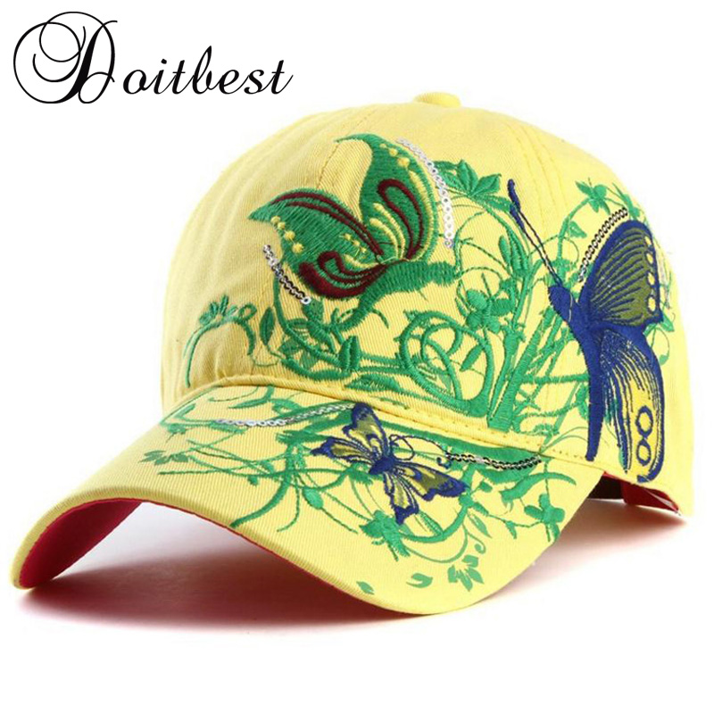 2018 Korean Butterfly Embroidery Women Hip Hop Baseball Cap Candy colors Summer Hat lady big Girl snapback Caps Parent-child cap wholesale spring cotton cap baseball cap snapback hat summer cap hip hop fitted cap hats for men women grinding multicolor