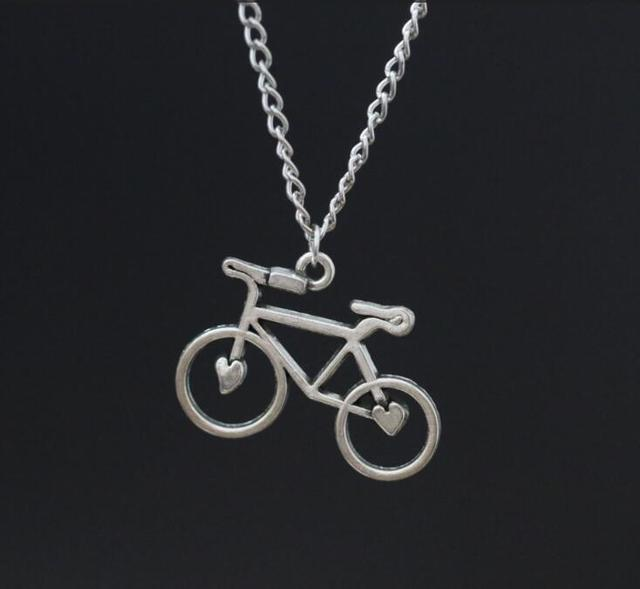 Love heart bicycle pendant necklace in gift alloy ancient silver love heart bicycle pendant necklace in gift alloy ancient silver pendants charms for mother women gift aloadofball Image collections