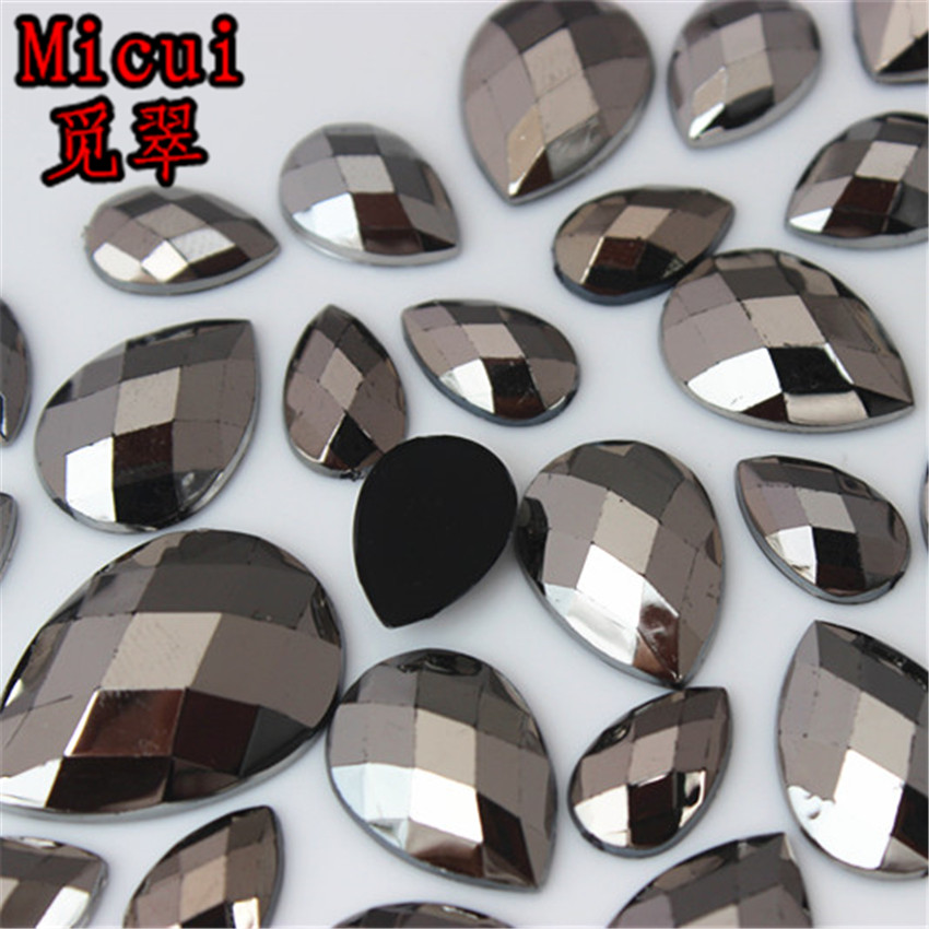 Micui Gun Black Crystals Flat Back Rhinestones Applique Drop Acrylic Gems  Non Sewing Strass Stone For Clothes Dress Crafts MC728 4470e307aee0