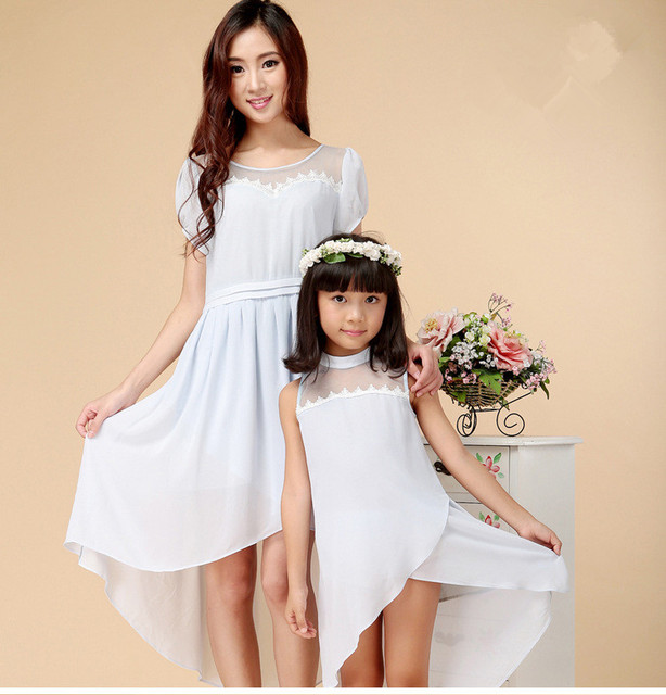 Hot sale 2016 Summer Mother and daughter dress,Fashion chiffon,Girls white beach dress,Family fitted,family matching party cloth