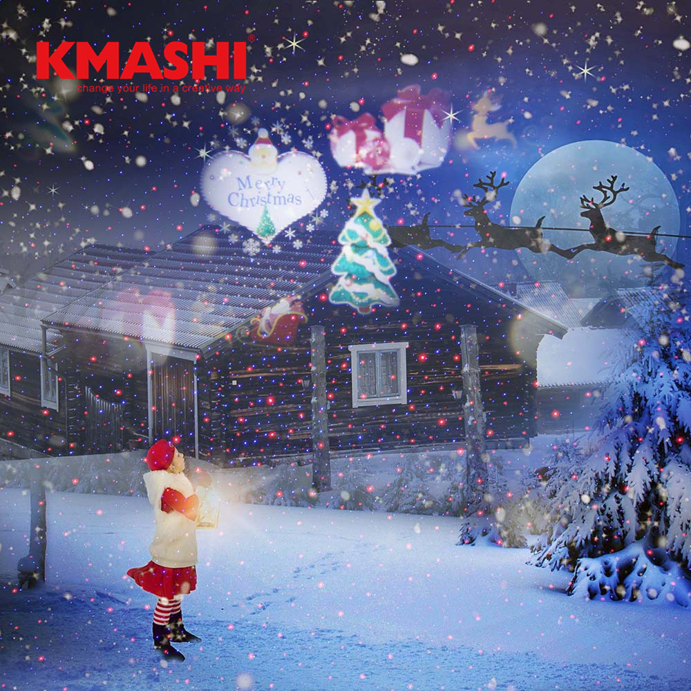 waterproof ip44 red green and blue laser led light with rf remote control for outdoor indoor garden decoration Kmashi 16 Pattern Slides Projector with Red Blue Laser Christmas Party Halloween Decoration Light Indoor Outdoor Garden Yard EU